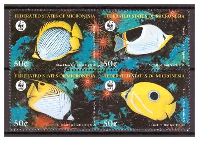 "Mikronésie 1997 ryby ""WWF Fish"" Michel 583-586"