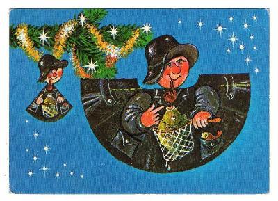 VÁNOCE-Vystřihovací pohlednice-vánoční ozdoba-