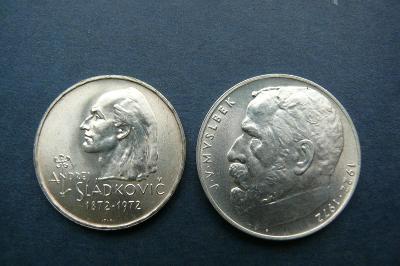 Kolekce pamětních mincí r. 1972  1x 20 korun 1x50 korun přímo s banky