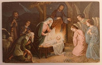 Vánoční pohlednice - MF - prošlo poštou za I. republiky