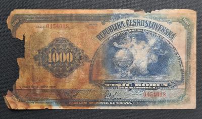 Vzácná 1000 Koruna 1932, Neperforovaná !!!