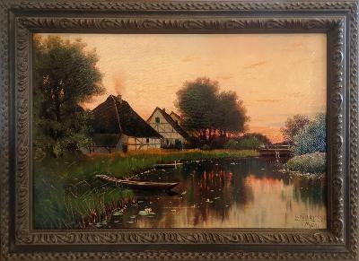 Večer u řeky    -     Grüner Mch. 1918 !!!