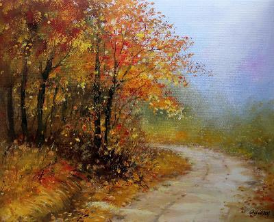 Podzimní nálada - orig. akryl 50x40 cm