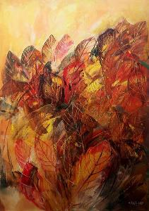 Podzimní paleta listí - orig. akryl 70x50 cm