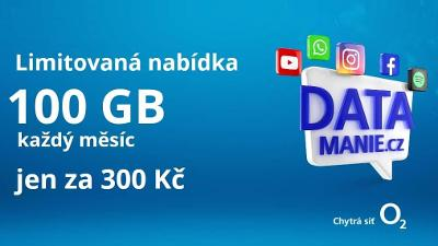 Nová O2 SIM karta Datamánie 100GB za 300Kč