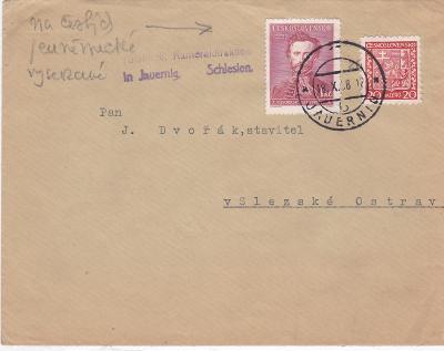 Sudety, vylámané Javorník 18.10.1938, firma, známky ČSR (Jeseník) -