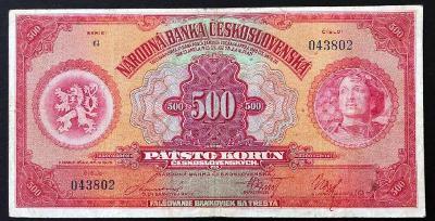 500 K 1929 vzácná série G neperforovaná