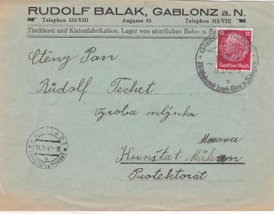 Sudety, firemní Jablonec nad Nisou, příl. razítko 1942-Kunštát,Blansko