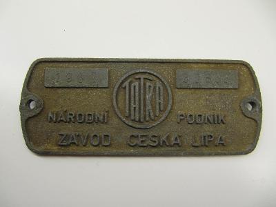 Štítek z železničního vozidla ČSD č.1