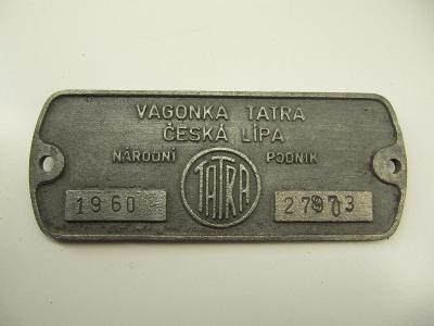 Štítek z železničního vozidla ČSD č.3