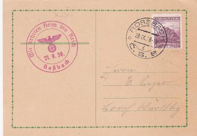 Sudety, Hranice, DR 28.9.1938, propagační 21.9. (Aš, Cheb)