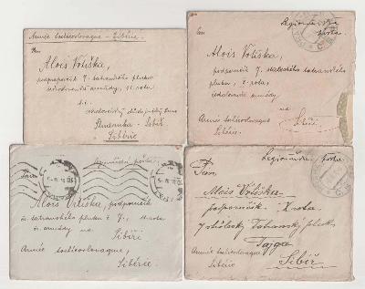ČSR I., Polní pošta na Rusi, 1919/1920, 5 kusů celistvostí s obsahy