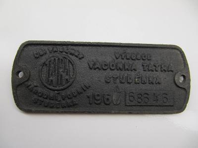 Štítek z železničního vozidla ČSD č.6