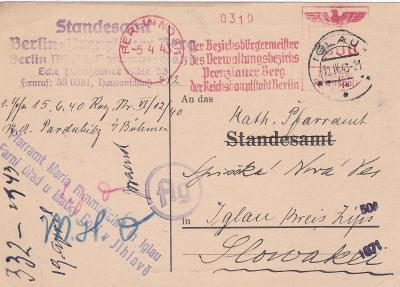 Německo, frankotyp Berlín 5.4.1943-Jihlava, církevní 12.4.- Slovensko,