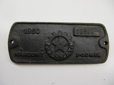 Štítek z železničního vozidla ČSD č.8