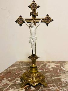 Top nádherný starožitný bronzový kříž ,Francie 1900