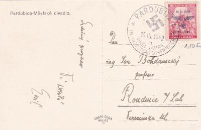 Pardubice, divadlo, příl. razítko 15.3.1942/a-Roudnice n.L.,Litoměřice