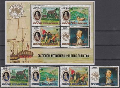 ** Cookovy ostrovy Mi.1010-13+Bl.145 Výstava známek Melbourne (Mi€ 27)