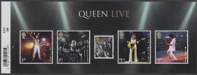 """** Velká Británie Mi.Bl.135 50 let rockové kapely """"Queen"""" (I)"""
