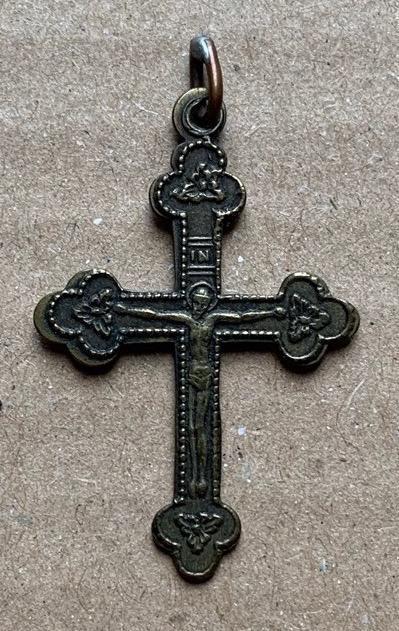 R U 19 stol. zdobený poutní kříž mosaz svátostka křížek Ježíš TOP kus