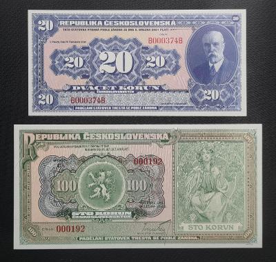 Vzácná Sada Novotisků 20 a 100 Koruna 1920 !!!