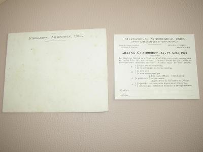 pozvánka astronomické unie do Londýna 1925