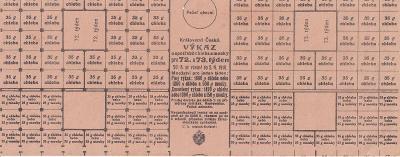 Lístek Výkaz o spotřebě chleba a mouky, 1916