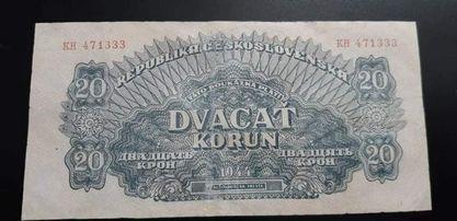 Vzácný 20 korun 1944,podtisk na A vodorovný na R svislý,obehový stav