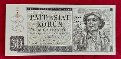 50Kčs bankovka rok 1950 séria B39 perforovaná S- UNC