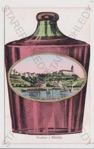 Mělník - koláž láhev / demižon, kolorovaná