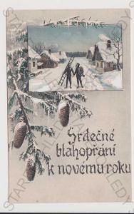 Nový rok - zimní koláž, kominík, kolorovaná