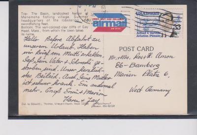 Výpredaj - U S A - Pohľadnica so známkou  !!!
