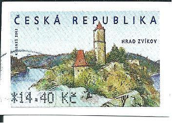 Automatová známka Hrad Zvíkov  2002, raž. zn. 14,40.