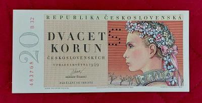 20Kčs bankovka rok 1949 séria B32 perforovaná S- UNC