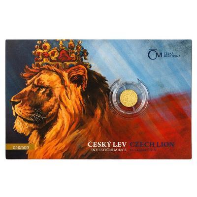 investiční zlato, zlatá mince český Lev, 1/25 OZ 2021, číslovaný