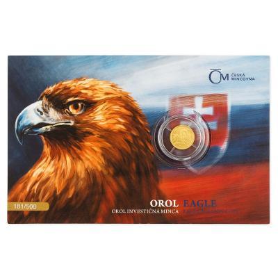 investiční zlato, zlatá mince slovenský orel, 1/25 OZ 2021, číslovaný