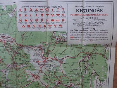 Krkonoše, Riesengebirge, turistická lyžařská mapa, reklamy, cca 1920