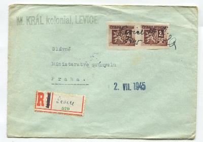 LEVICE-R-dopis fy. M.KRÁL,koloniál Levice pr. 27.6.45, dvojpáska č.368