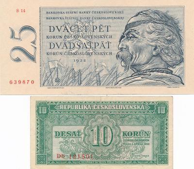 25 KČS 1958 UNC + 10 Kčs 1950 stav 2.