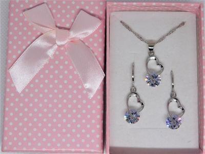 Nádherný jemný stříbrný setík se zirkonem ve tvaru srdce - od koruny !