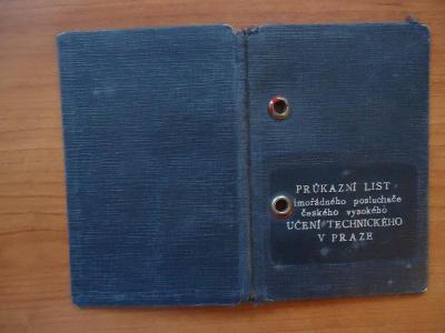 Průkazní list mimořádného posluchače  ČVUT v Praze z roku 1935