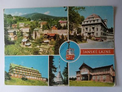Pohlednice Krkonoše Jánské Lázně Černá hora Lanovka