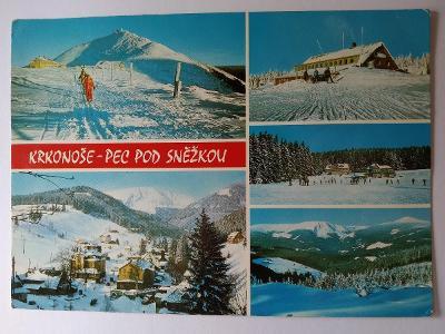 Pohlednice Krkonoše Pec pod Sněžkou Sněžka Hotel Hořec Chata Prvosenka