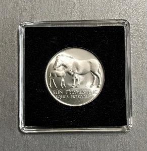 Stříbrná mince 50 Kčs 1987, Kůň Převalského,VZÁCNÁ VARIANTA