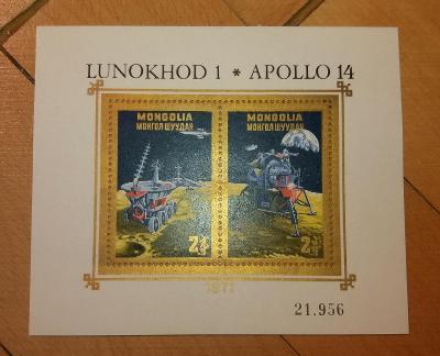 Mongolsko 1971 ** vesmír Lunochod a Apollo komplet mi. bl.  25