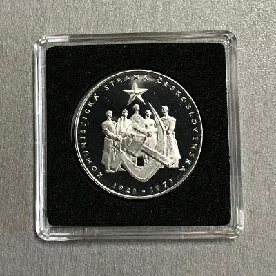 R!Stříbrná mince 50 Kčs PROOF Založení KSČ 50. výročí 1971, 4.878 ks