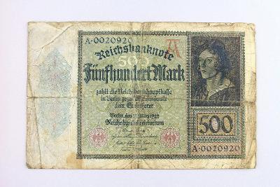 NĚMECKO // 500 MARK 1922 // neperf. /26