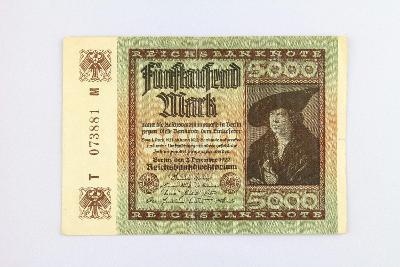 NĚMECKO // 5000 MARK 1922 T M // neperf. /30