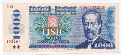 1000 Kčs 1985 - NEPERFOROVANÁ, pěkná - série C 24 (čísla u sebe)
