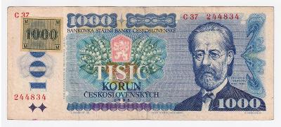 1000 Kčs 1985 - NEPERFOROVANÁ - série C 37 + lepený kolek